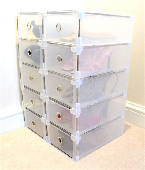plastic pull out drawers della clear shoe storage boxes with pull out drawers