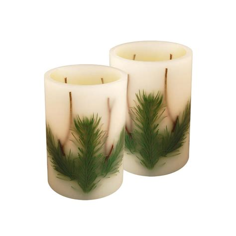 Lumabase Real Wax 6 in. H Pine Needle LED Candle (Set of 2) 92502 The Home Depot