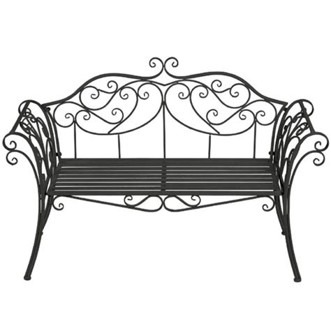 black metal bench outdoor ornate scrolled metal bench black the garden factory