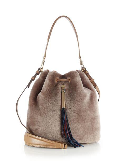 Elizabeth Bags elizabeth and cynnie shearling bag in gray lyst
