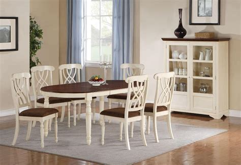 Cottage Style Dining Room Furniture Cameron Cottage Style Oval Whitewash Dining Room Set Coaster Free Shipping