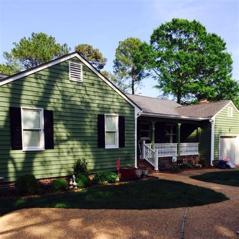 house painted with sherwin williams artichoke green exterior house color mid century modern