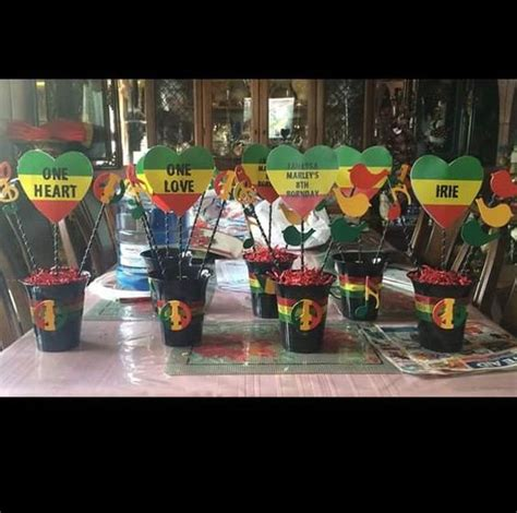 themes reggae one love one heart reggae party hand made centerpieces