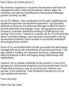 business development cover letter sle