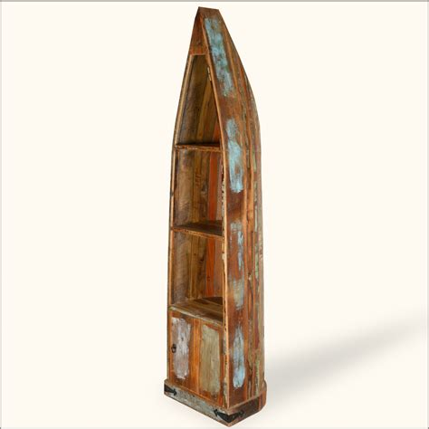 reclaimed wood standing canoe rustic book bookshelf