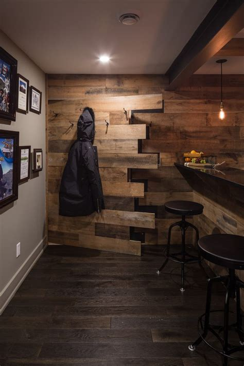 basement ideas basement rustic  reclaimed wood hidden