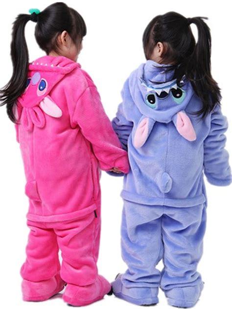 Jam Flanel Stitch Pink children kid flannel animal pajamas anime costumes sleepwear onesie blue pink