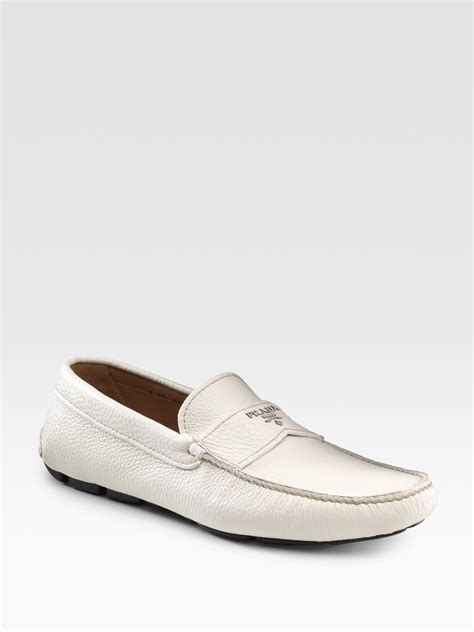 loafers for white prada logo loafers in white for lyst