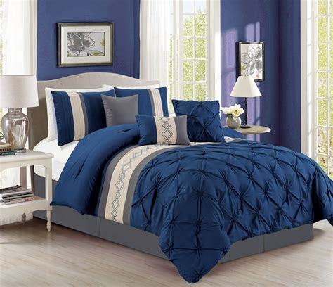 pleated comforter sets 7 piece pintuck pinch pleated navy ivory comforter set ebay