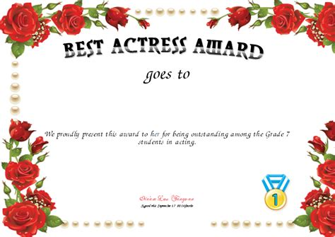 award printable best actress award certificate created with