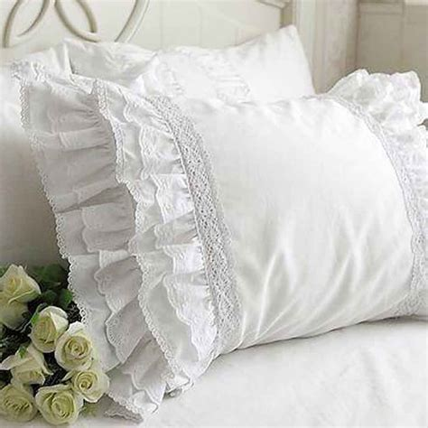 lace pillow sham white pillows 30th and shabby