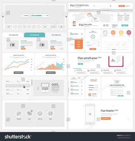 ui model pattern flat ui kit template for website mobile and business with