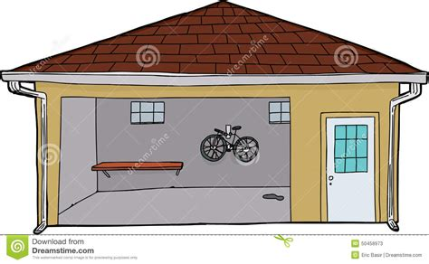 garage cartoon isolated garage with bike and doorway stock illustration