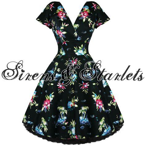 swing kleid blumen kleid damen rockabilly 50er jahre vintage swing