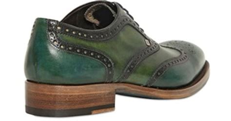 green oxford shoes harris leather two tone brogued oxford shoes in green for