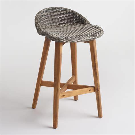Wicker Bar Stool Set by Gray Wicker And Wood Taormina Barstools Set Of 2 World