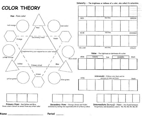Color Theory Worksheet by Color Theory Worksheet 7th Grade Ideas