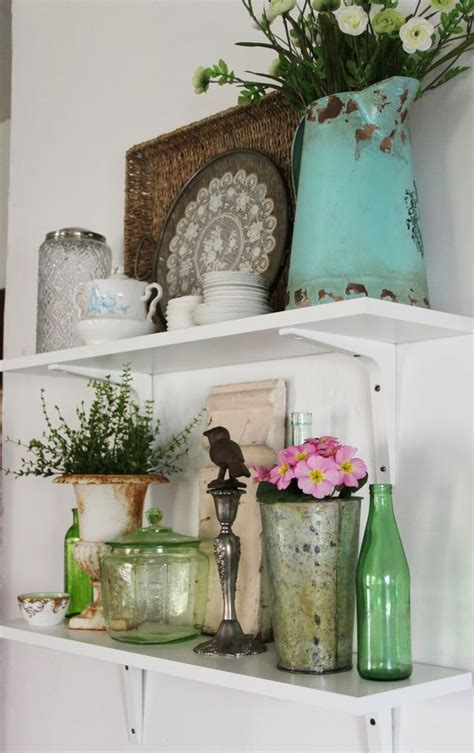 Decorating Ideas For Kitchen Shelves 25 Best Ideas About Vintage Vignettes On Pinterest Suitcase Decor Silver Tray Decor And