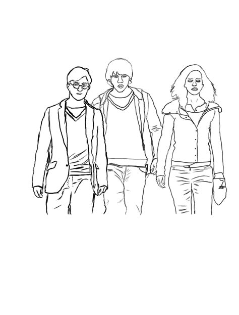 harry potter ron and hermione coloring pages harry ron hermione by liamrickett on deviantart