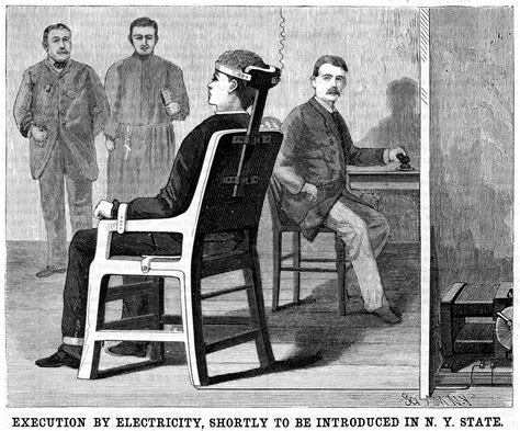 Thomas Edison Electric Chair by File Execution By Electricity Electric Chair Illustration