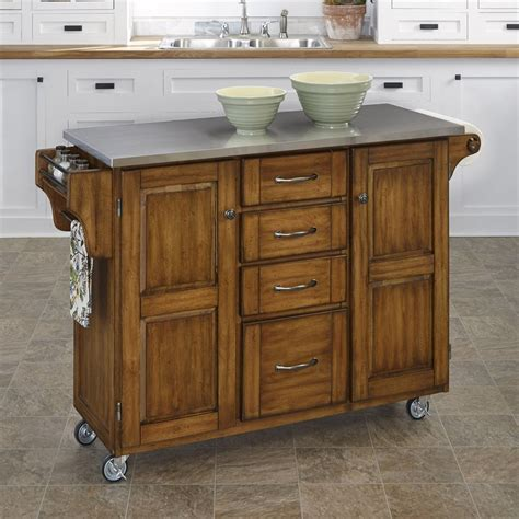 kitchen island lowes shop home styles brown scandinavian kitchen cart at lowes