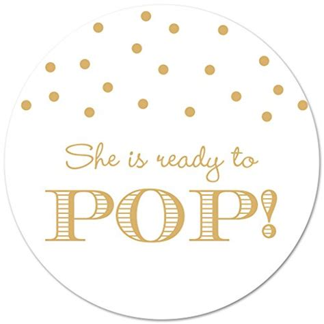 40 ready to pop baby shower stickers gold on white