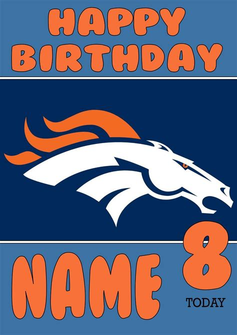 Denver Broncos Birthday Card Template by Personalised Denver Broncos Birthday Card 5