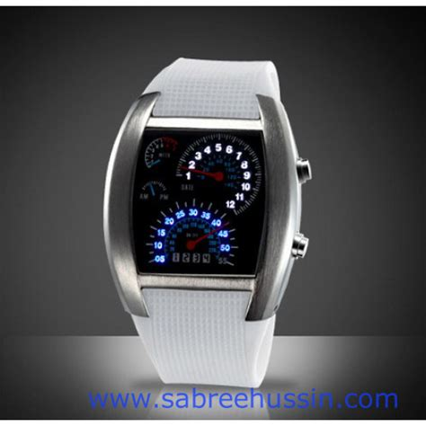 Jam Tangan Warna Putih jam tangan flash rpm speedometer
