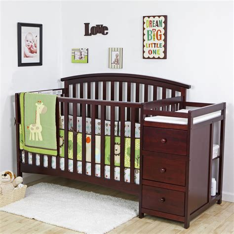 New 4 In 1 Side Convertible Crib Changer Nursery Furniture Child Crib Bed
