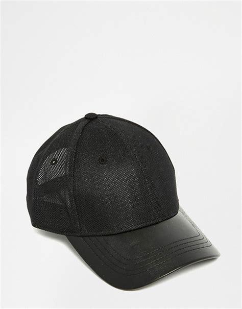 imagenes de gorras nike sb asos asos baseball cap in black mesh with faux leather peak