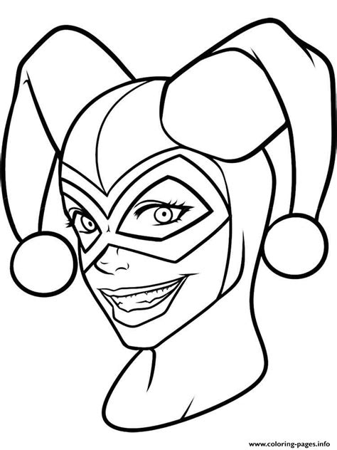 printable harley quinn mask harley quinn face mask coloring pages printable