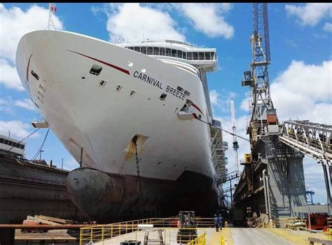 cruises in dry dock latest photos of carnival breeze during dry dock