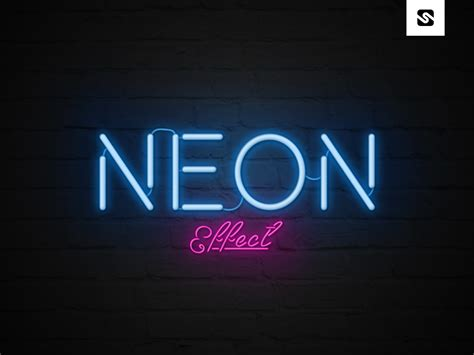 Free Download Neon Text Effect Template Psd File Neon Sign Photoshop Template