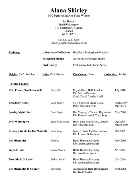 resume template exle for performing arts with theatre