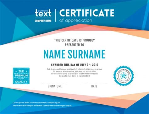 modern certificate templates modern certificate with blue polygonal background design