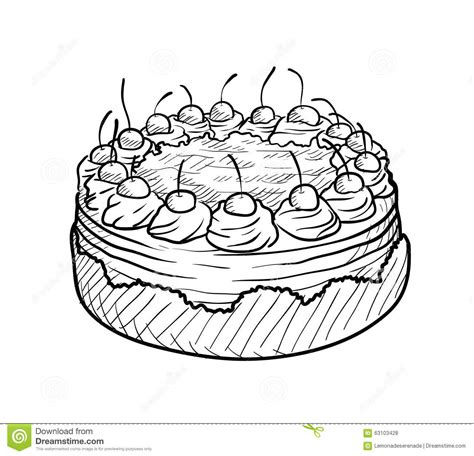 cake doodle cherry cake doodle stock vector image 63103428