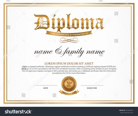 instructional design certificate vancouver diploma certificate design template stock vector 262462667