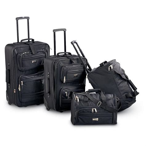 rugged luggage rugged cargo 4 pc luggage set black 115756 at sportsman s guide