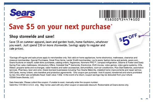 coupons for sears in store