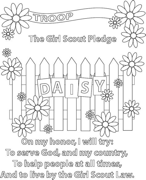 Girl Scout Pledge Coloring Page Great When They Earn The Scout Promise Coloring Page