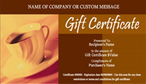 Coffee Shop And Cafe Gift Certificate Templates Easy To Use Gift Certificates Coffee Shop Gift Certificate Template