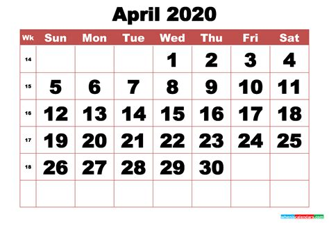 printable april  calendar  week numbers
