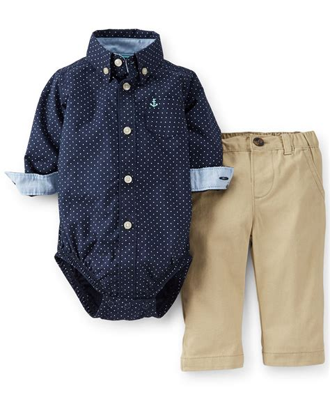 Carters For Boy by S Baby Boys 2 Bodysuit Khakis Set