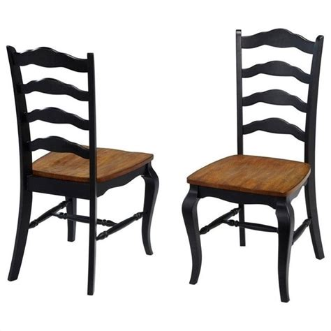 Home Styles French Country Dining Chair Pair Oak Rubbed Black Dining Chairs