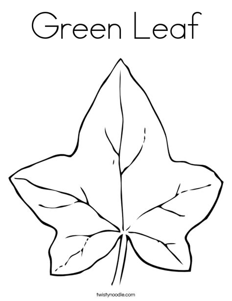 green leaf coloring page twisty noodle