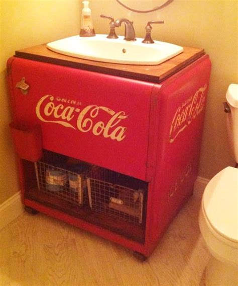 homemade bathroom sinks vintage coke cooler makes for a fun and unique sink best