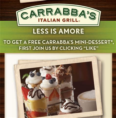 Carrabba S Gift Card Promotion - carrabba s italian grill free mini dessert w entree purchase 10 bonus gift card