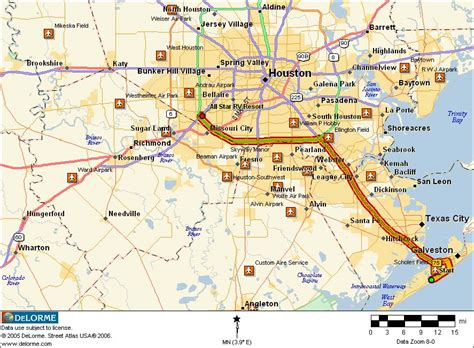 houston galveston map summer 2006 galveston houston