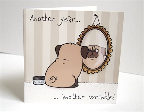 pug card pug birthday greeting card