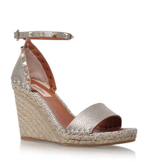espadrilles wedge sandals valentino rockstud espadrille wedge sandal in metallic lyst